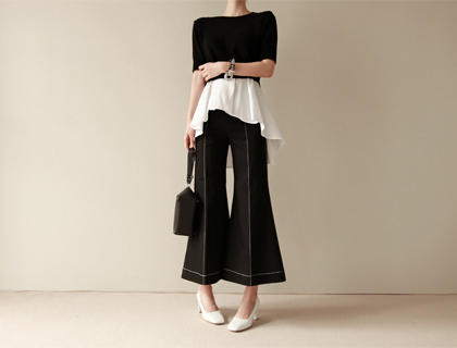 Stitch-wide pants (50% sale)