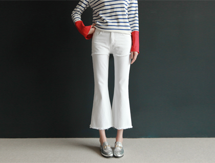Layered boots-cut pants (ivory)(50% sale)