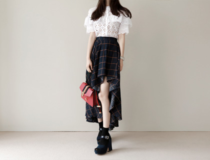 Window check unbal skirt (50% sale)