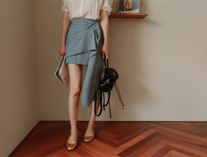 Daily check-unbal skirt
