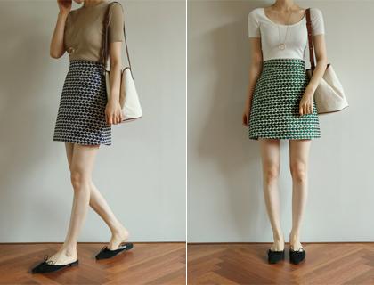 Dot jacquard skirt