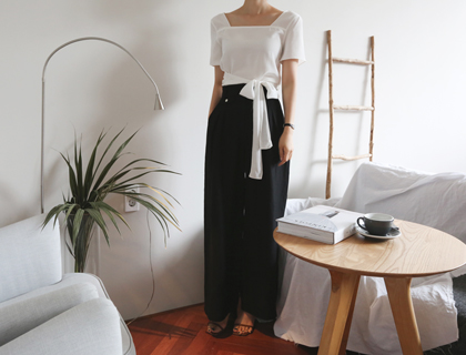 Linen pin tuck pants (black)