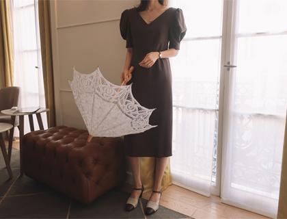 Pinstripe puff dress