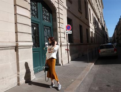 Velvet slit skirt
