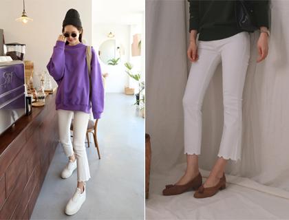 White boots-cut pants