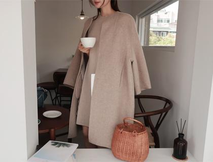 Creamy round coat