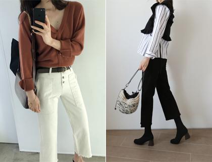 Cotton button pants