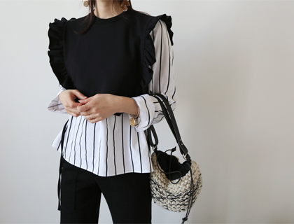 Minifrill stripe blouse