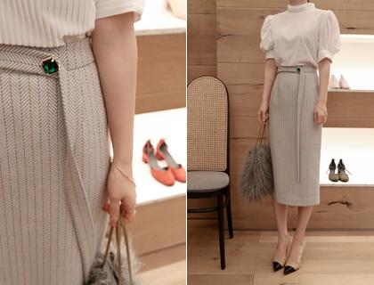 Cubic herringbone skirt