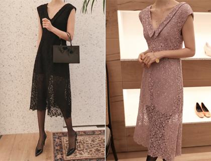 Deep v lace dress