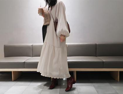 Olive wrinkle dress
