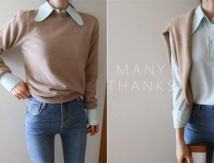 Rounding collar blouse