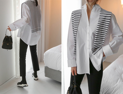 Shawl layered shirt