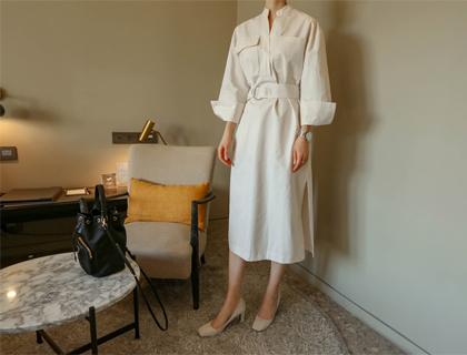 Chic-pocket dress *belt set*