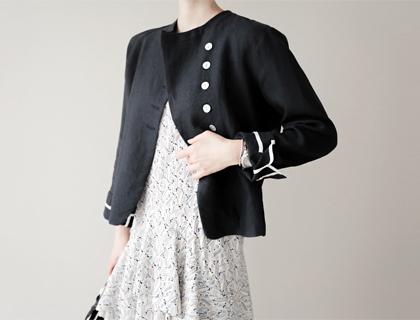 Shell-button linen jacket