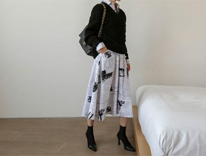 Paper flare skirt
