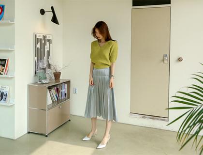 Twill pleats skirt