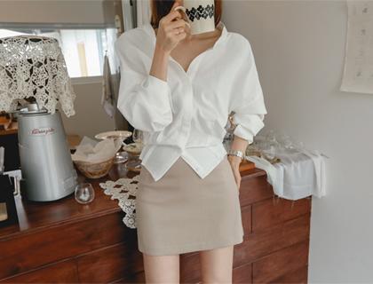 Stone mini skirt