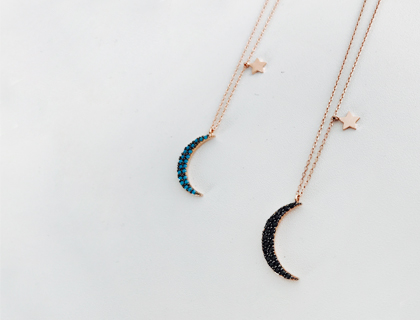 Twinkle moon-star necklace