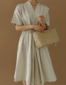 Linen shirring dress