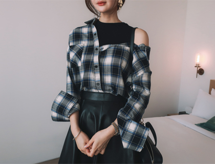 Layered check shirt