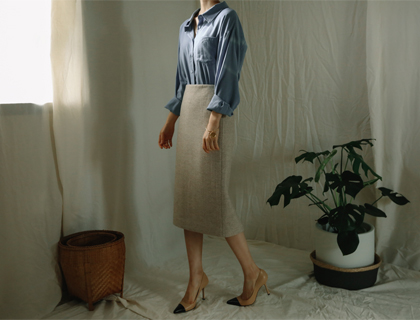 Under herringbone skirt