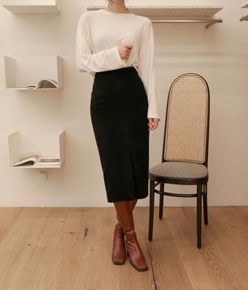 Wool-slit skirt