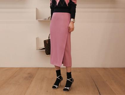 Poly slit skirt
