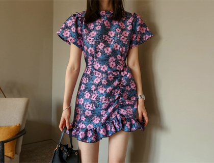 Jacquard mini shirring dress