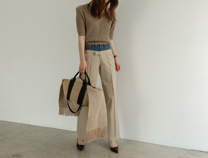 Duplex denim pants