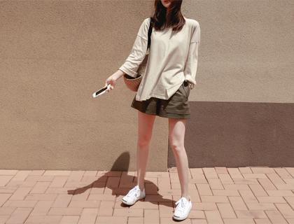 Solid linen shorts