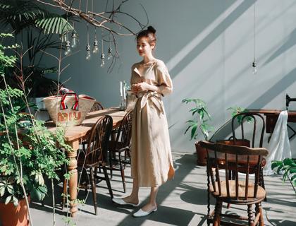 Linen off-shoulder dress
