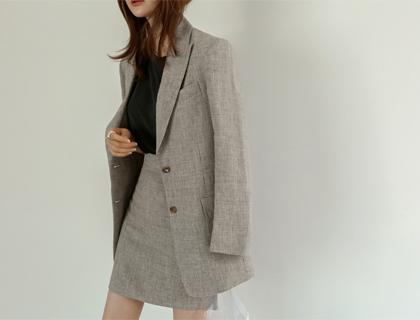 Braun check linen skirt