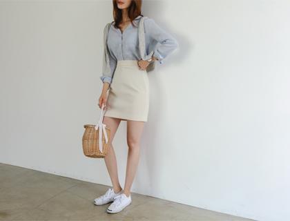 Banding mini skirt