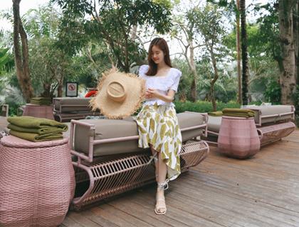 Leaf linen skirt