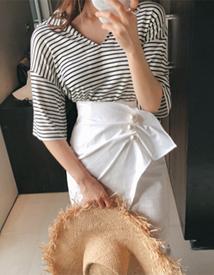 Nox stripe collar tee