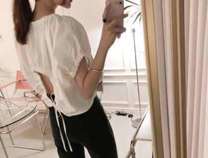 Volume shirring blouse