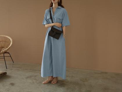Denim shirt long dress