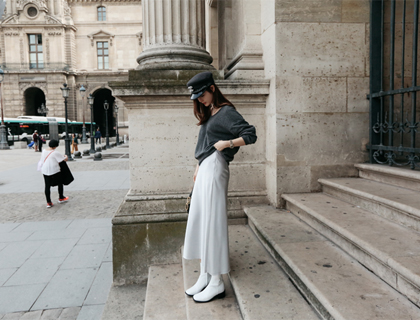 Sateen long skirt