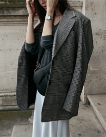 Notched check jacket
