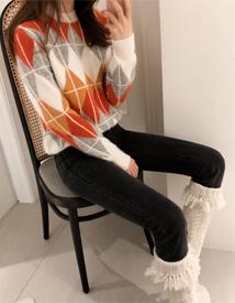 Argyle angora knit
