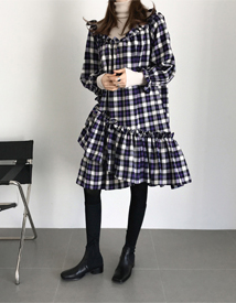 Check-frill dress