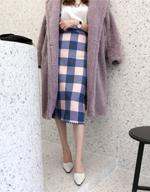 Knit check skirt