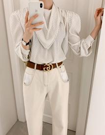 Dot-scarf blouse