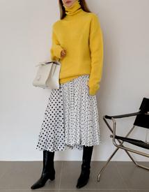 Unbal pleats skirt