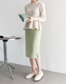 Shaggy wool skirt