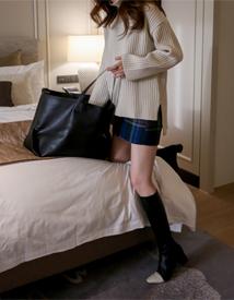Pintuck check mini skirt