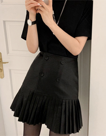 Leather pleats skirt