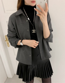 Wool collar shirt