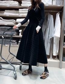 Velvet suspender dress
